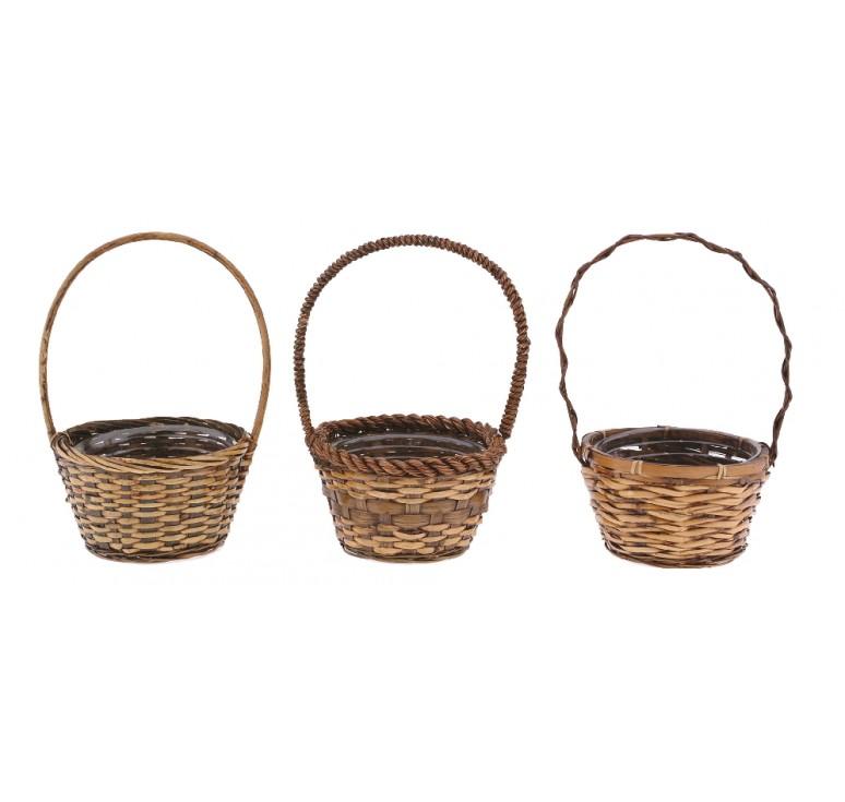 "12"" Round Bamboo Single Basket"