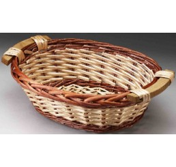 Two-Tone Oval Willow Tray with Wooden Ear Handles
