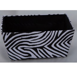 Zebra Print Fabric Covered Paperboard Container-Sm