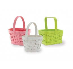 Painted Woodchip Baskets w/Drop Handle