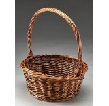 Brown Stain Round Willow Single Basket - 10.5""