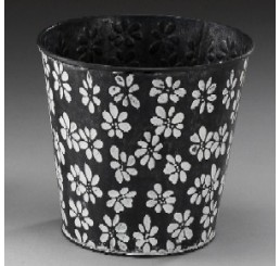 Metal Container w/Embossed Daisy Design