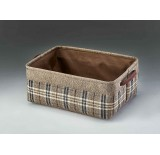 Rectangular Fabric Container w/Faux Leather Handles