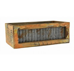 Distressed Rectangular Barn Wood/Metal Container