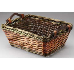 Rectangular Willow Basket with Wooden Ear Handles