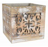 White Wash Wooden Cube