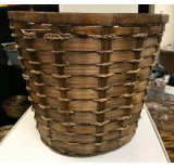 "10"" Bamboo Planter Basket / Pot Cover Brown Stain"