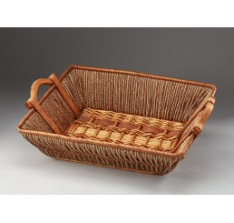 Rectangular Willow, Rope and Wood Tray