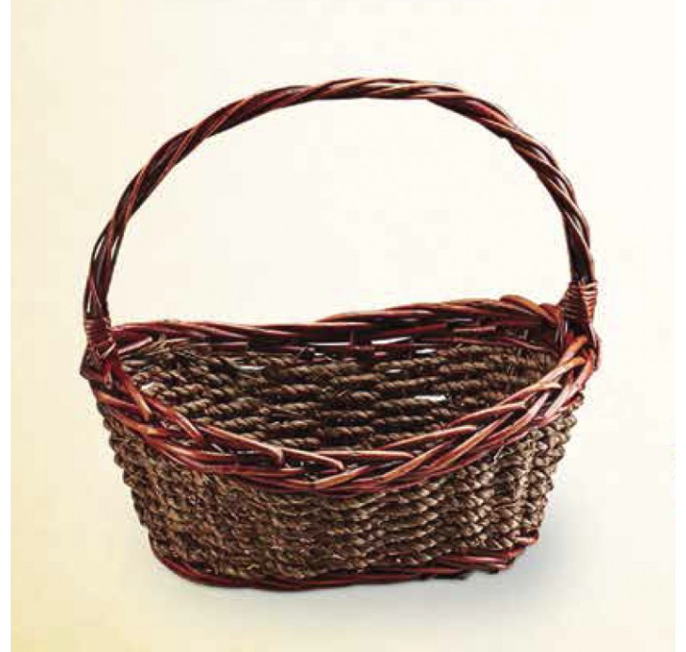 Brown Stain Willow and Rope Basket