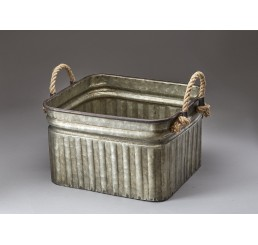 Galvanized Metal Container with Rope Ear Handles