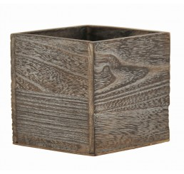 "Brown Stain Wooden 4"" Cube"