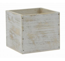 "White Washed Wooden 4"" Cube"