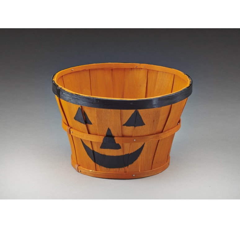 Round Woodchip Container w/ Painted Jack-O-Lantern Face