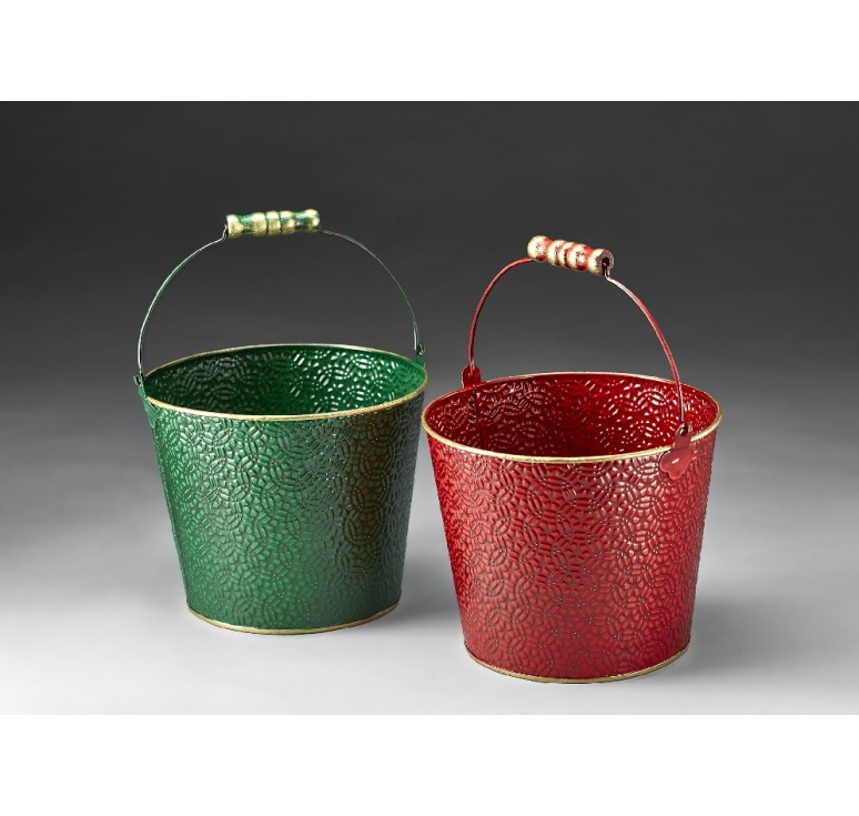 Round Metal Container with Drop Handle