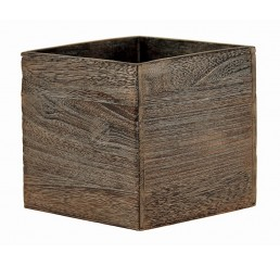 "Brown Stain Wooden 5"" Cube"