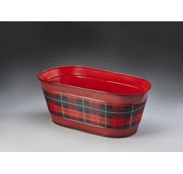 Oval Metal with Plaid Fabric Insert