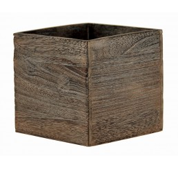 "Brown Stain Wooden 6"" Cube"