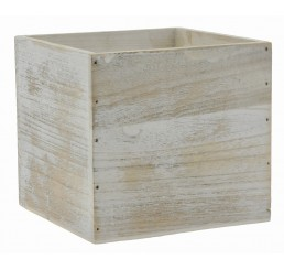 "White Washed Wooden 6"" Cube"
