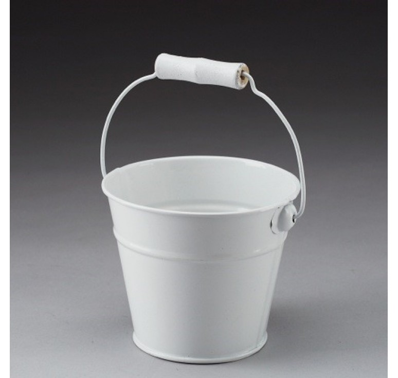 Round Metal Pail with Drop Handle