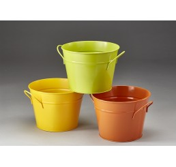 Three Assorted Color Round Metal Pail