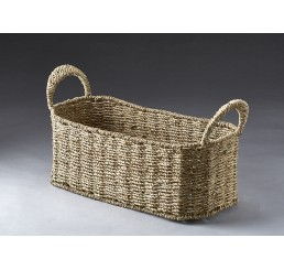 Oblong Seagrass Container with Metal Frame