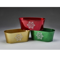 Oval Metal Container with Snowflake Design