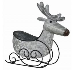 Galvanized Metal Reindeer Sleigh