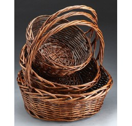 Round Willow Set/3; Brown Stain