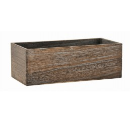 Brown Stain Rectangular Wooden Container