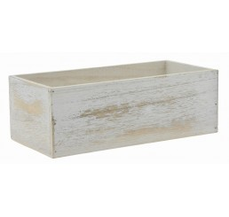 White Washed Rectangular Wooden Container