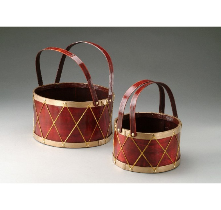 Set/2 Woodchip Drum Basket w/Drop Handles