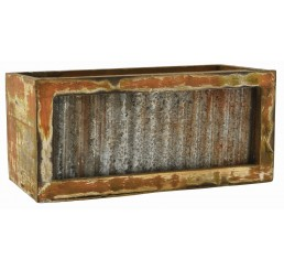 Rectangular Distressed Barn Wood/Metal Container