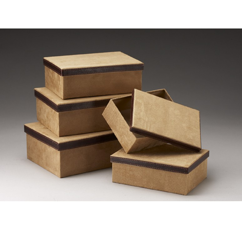 Set/5 Corrugated Gift Box w/Tan Faux Suede