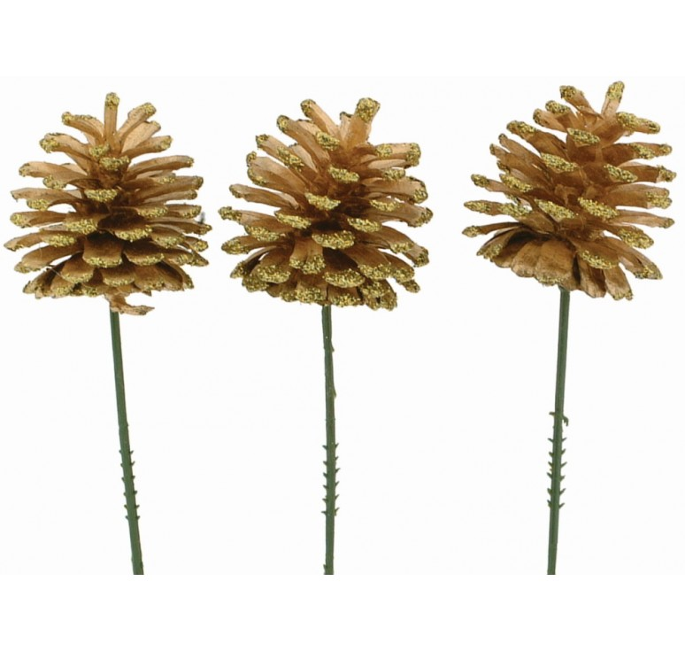 Gold Glitter Pinecone Pick - Case of 100 pcs