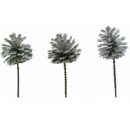 Silver Glitter Pinecone Pick - Case of 100 pcs