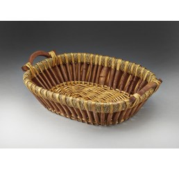 Willow/Woodchip Tray with Wooden Ear Handles