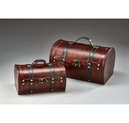 Set/2 Wooden Trunk with Metal Latch