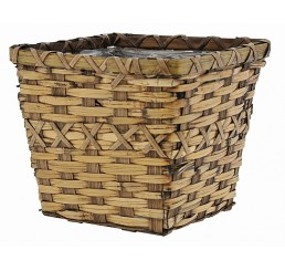 Brown Stain Faux Rattan Square Planter - Fits 6""
