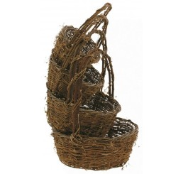 "Set of 4 Round ""Twiggy Vine"" Willow Basket"