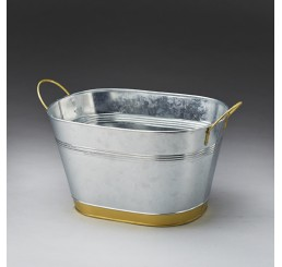 Galvanized Metal with Gold-Tone Trim