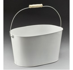 White Metal Pail with Drop Handle