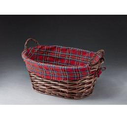 Oval Willow with Plaid Fabric Lining