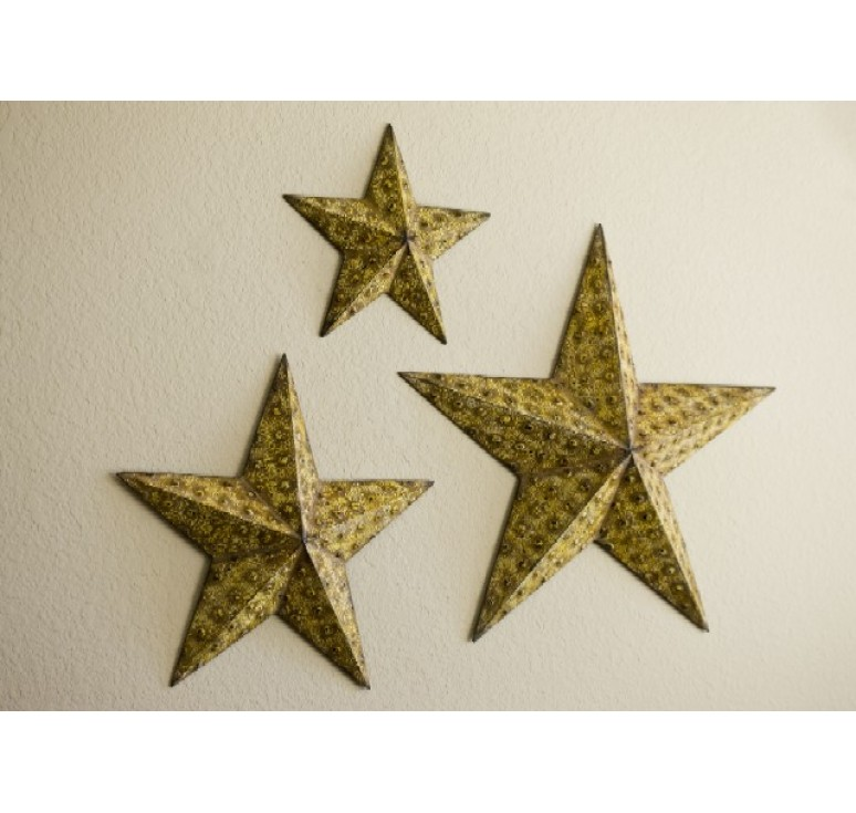 Set of 3 Metal Star Wall Decoration