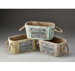 Oval Wooden Containers with Rope Ear Handles and Metal Accent Plates