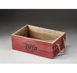 Rectangular Wooden Container with Rope Ear Handles -Burgundy
