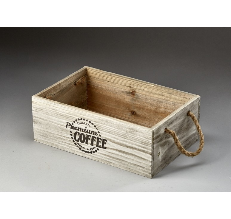 Rectangular Wooden Container with Rope Ear Handles