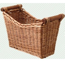 Tapered Willow Basket with Wooden Ear Handles