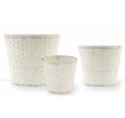 White Washed Bamboo Planter Baskets