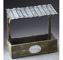 Rectangular Wooden Container with Metal Roof