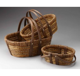 Set of 3 Willow, Rope and Woodchip Baskets